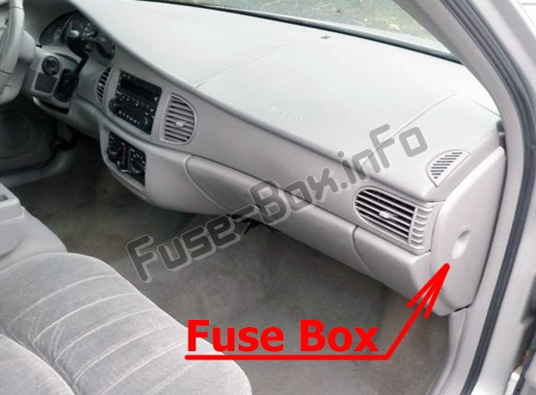 The location of the fuses in the passenger compartment: Buick Century (1997-2005)