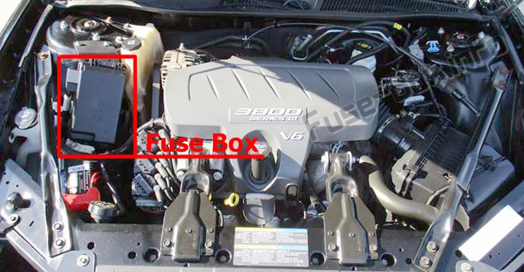The location of the fuses in the engine compartment: Buick LaCrosse (2005-2009)