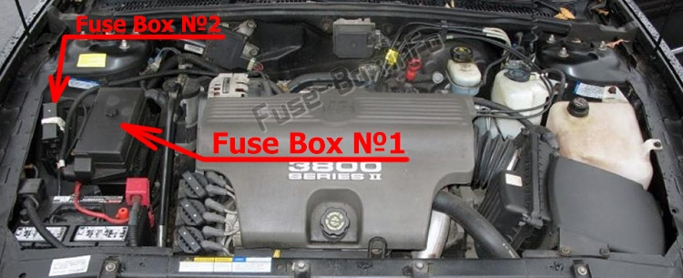 The location of the fuses in the engine compartment: Buick Park Avenue (1997-2005)