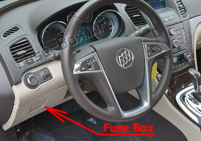 The location of the fuses in the passenger compartment: Buick Regal (2011-2017)