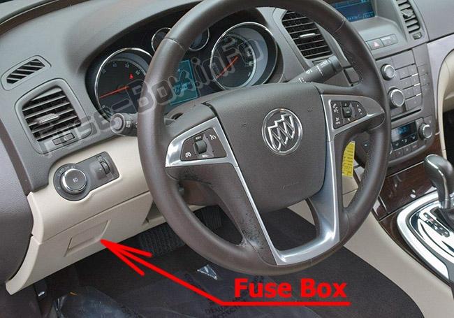 Die Position der Sicherungen im Fahrgastraum: Buick Regal (2011-2017)