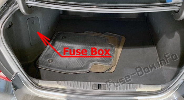 The location of the fuses in the trunk: Buick Verano (2012-2017)