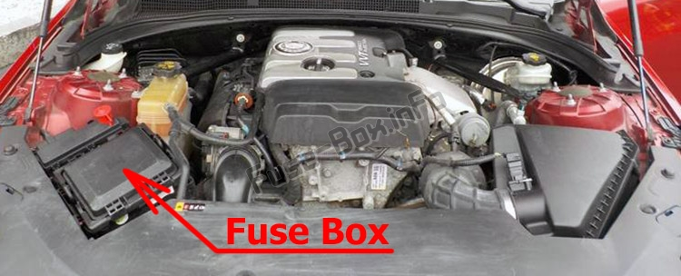 The location of the fuses in the engine compartment: Cadillac ATS (2013-2018)