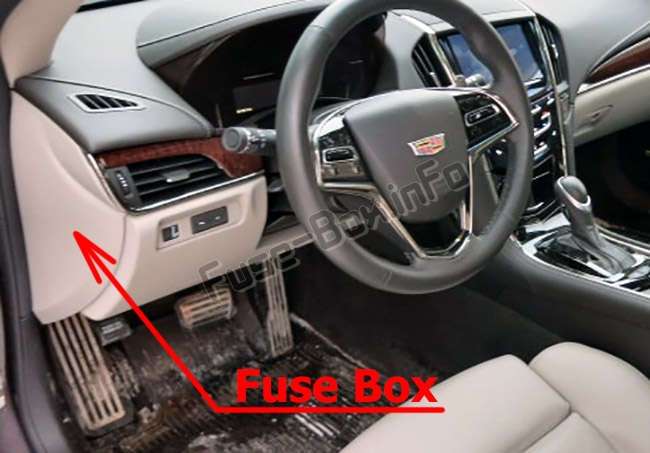 The location of the fuses in the passenger compartment: Cadillac ATS (2013-2018)