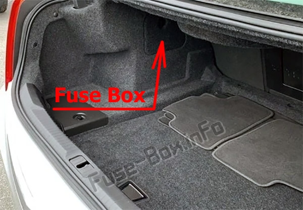 The location of the fuses in the trunk: Cadillac ATS (2013-2018)