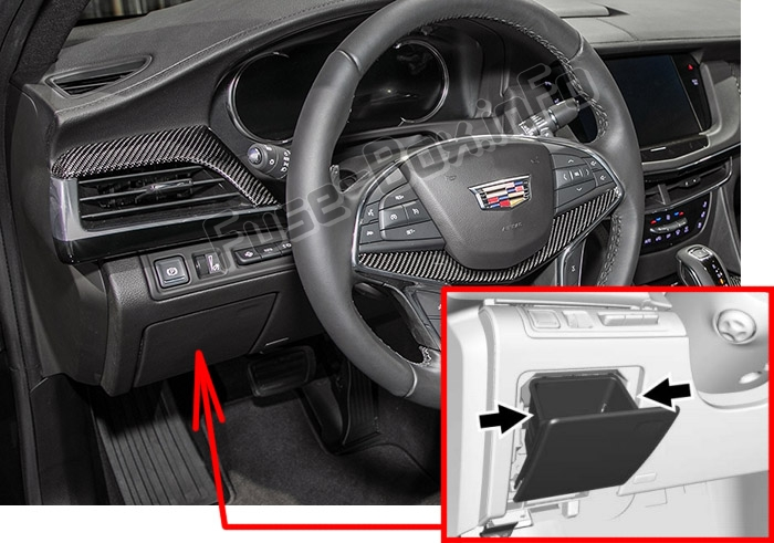 The location of the fuses in the passenger compartment: Cadillac CT6 (2016-2019-..)