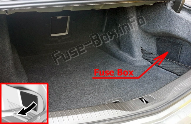 The location of the fuses in the trunk: Cadillac CT6 (2016-2019..)