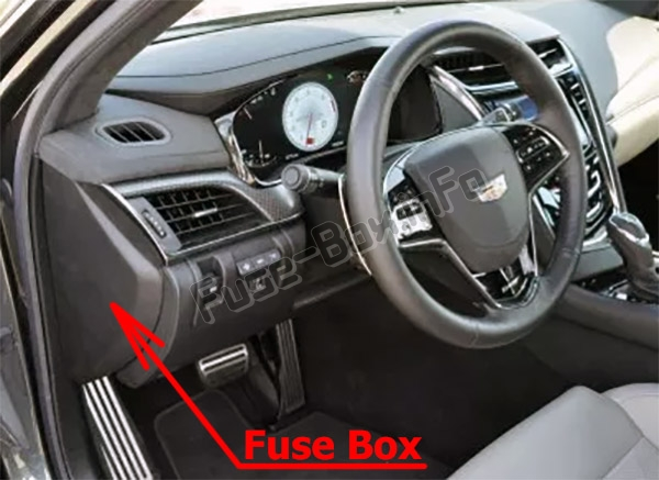 The location of the fuses in the passenger compartment: Cadillac CTS (2014-2018)