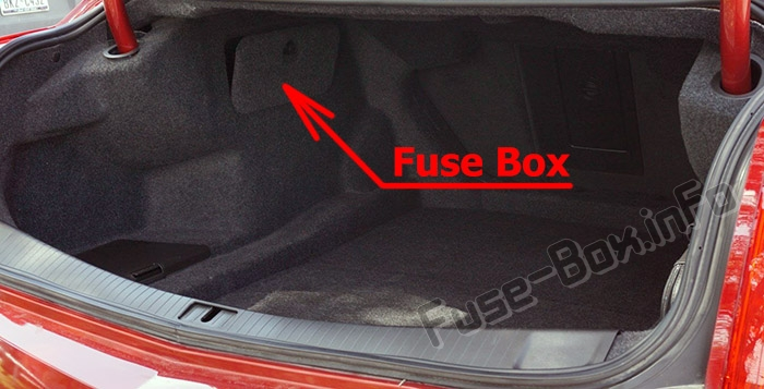 The location of the fuses in the trunk: Cadillac CTS (2014-2018)