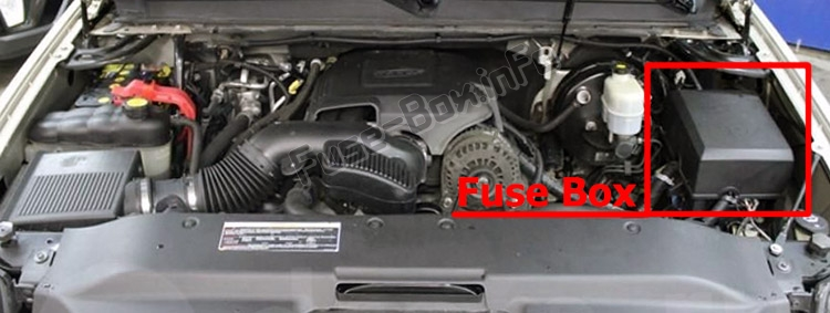 The location of the fuses in the engine compartment: Cadillac Escalade (GMT 900; 2007-2014)