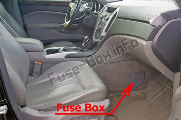 The location of the fuses in the passenger compartment: Cadillac SRX (2010-2016)