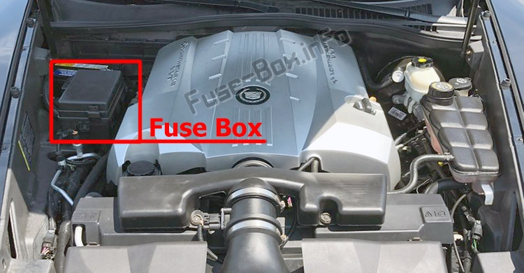 The location of the fuses in the engine compartment: Cadillac XLR (2004-2009)