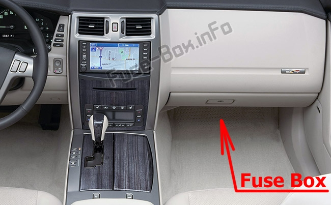 The location of the fuses in the passenger compartment: Cadillac XLR (2004-2009)