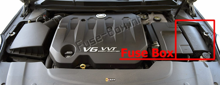 The location of the fuses in the engine compartment: Cadillac XTS (2013-2018)