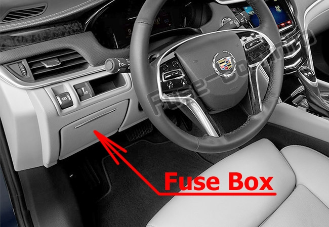 The location of the fuses in the passenger compartment: Cadillac XTS (2013-2018)