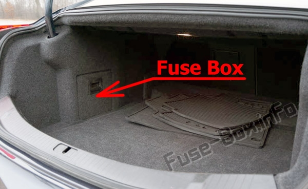 The location of the fuses in the trunk: Cadillac XTS (2013-2018)
