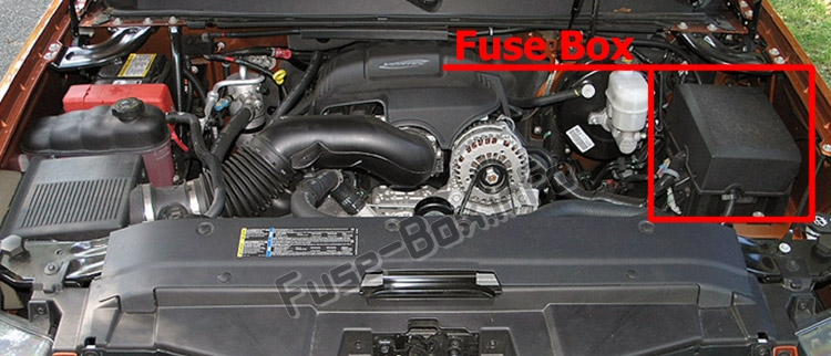 The location of the fuses in the engine compartment: Chevrolet Avalanche (GMT900; 2007-2013)