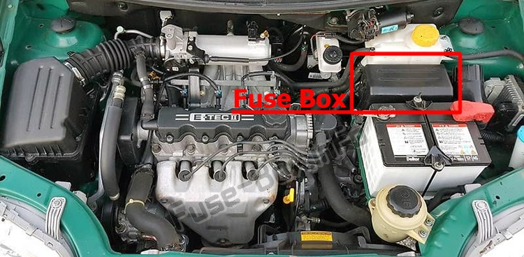The location of the fuses in the engine compartment: Chevrolet Aveo (2002-2006)