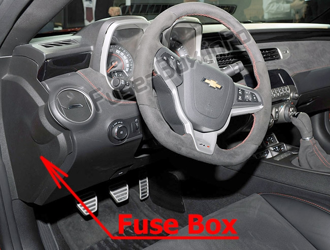 The location of the fuses in the passenger compartment: Chevrolet Camaro (2010-2015)