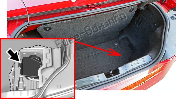 The location of the fuses in the trunk: Chevrolet Camaro (2016-2018..)