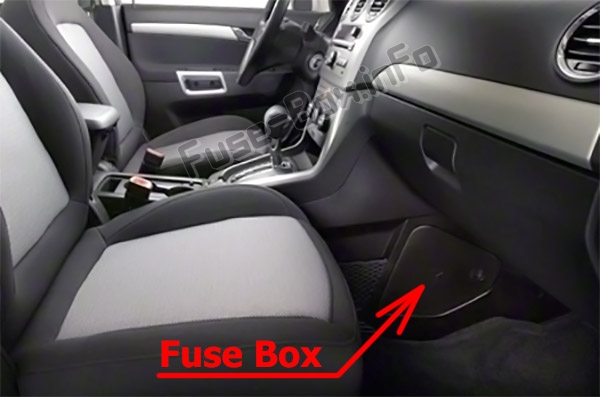 The location of the fuses in the passenger compartment: Chevrolet Captiva Sport (2012-2016)