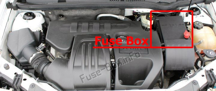The location of the fuses in the engine compartment: Chevrolet Cobalt (2005-2010)