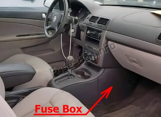 The location of the fuses in the passenger compartment: Chevrolet Cobalt (2005-2010)