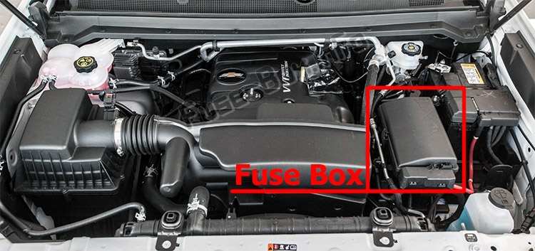 The location of the fuses in the engine compartment: Chevrolet Colorado (2012-2019)