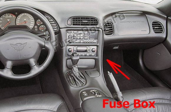 The location of the fuses in the passenger compartment: Chevrolet Corvette (C5; 1997-2004)