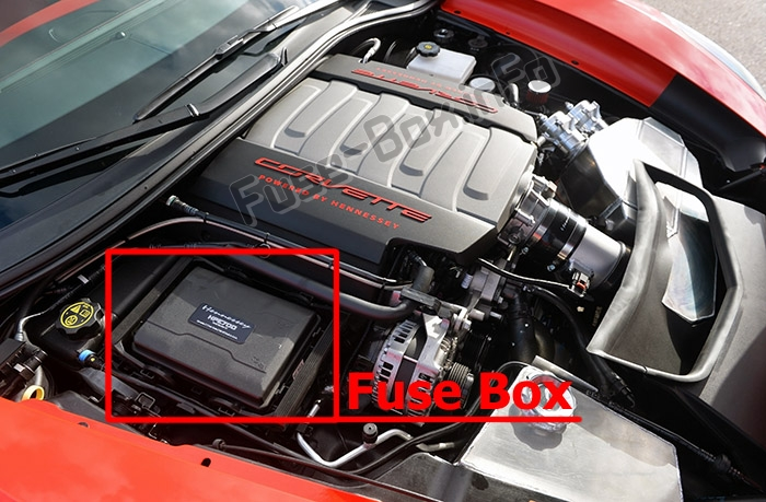 The location of the fuses in the engine compartment: Chevrolet Corvette (C7; 2014-2019-..)