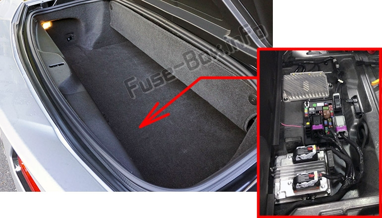 The location of the fuses in the trunk: Chevrolet Corvette (C7; 2014-2019-..)