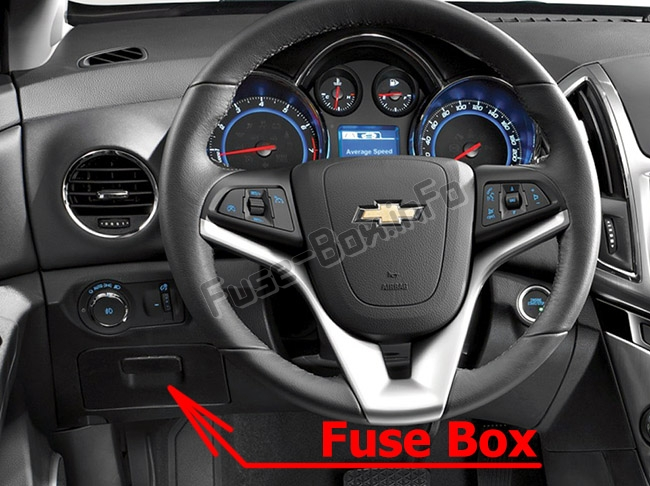 The location of the fuses in the passenger compartment: Chevrolet Cruze (J300; 2008-2016)
