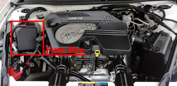 The location of the fuses in the engine compartment: Chevrolet Impala (2006-2013)