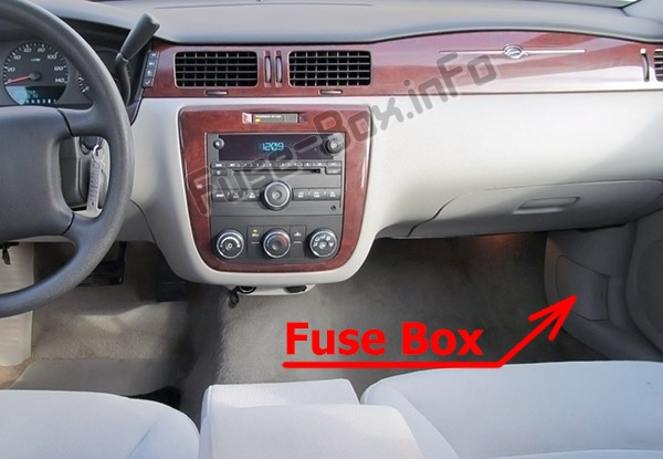 The location of the fuses in the passenger compartment: Chevrolet Impala (2006-2013)