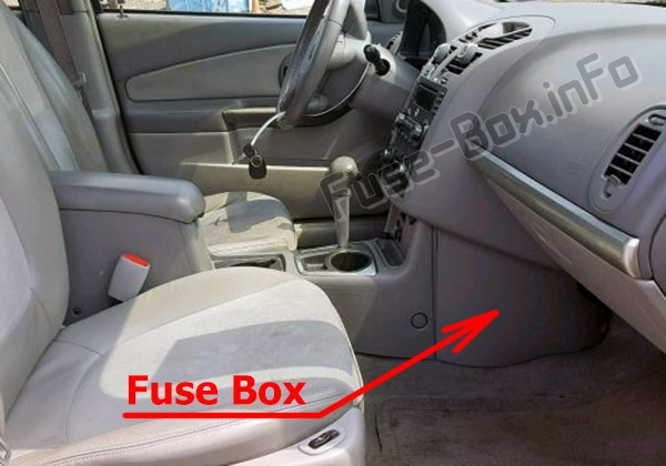 the location of the fuses in the passenger compartment: chevrolet malibu  (2004-2007