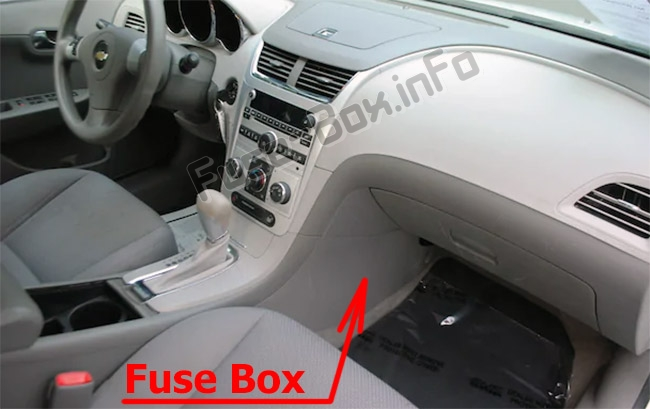 The location of the fuses in the passenger compartment: Chevrolet Malibu (2008-2012)