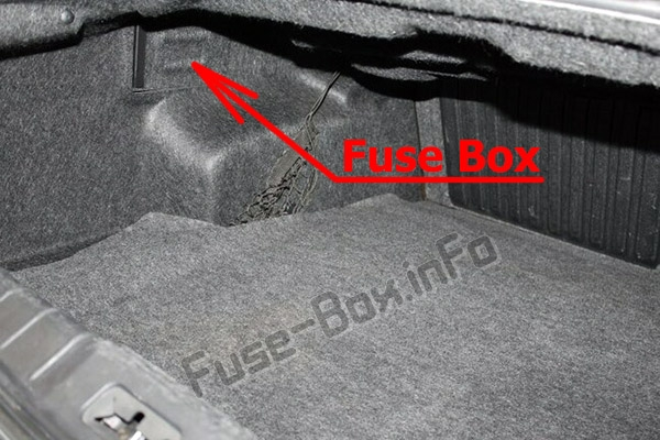 The location of the fuses in the trunk: Chevrolet Malibu (2008-2012)