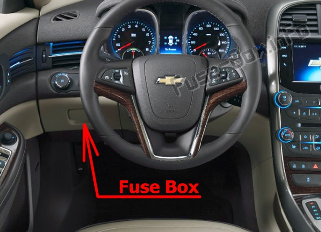 The location of the fuses in the passenger compartment: Chevrolet Malibu (2013-2016)