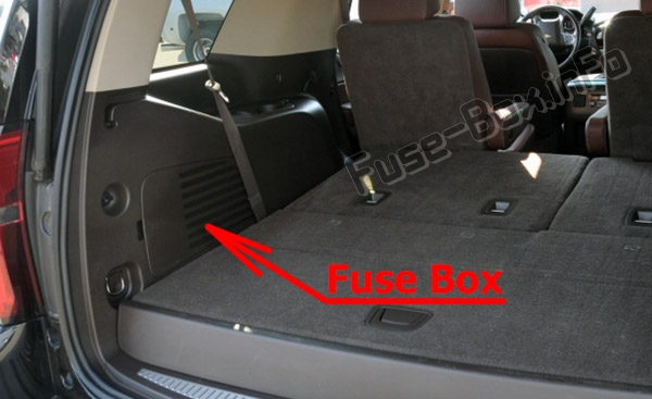 The location of the fuses in the trunk: Chevrolet Suburban / Tahoe (2015-2019..)