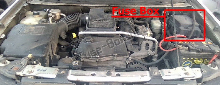 The location of the fuses in the engine compartment: Chevrolet TrailBlazer (2002-2009)
