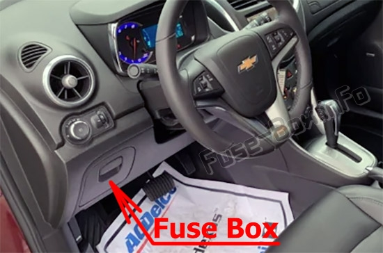 The location of the fuses in the passenger compartment: Chevrolet Trax (2013-2018)