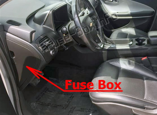 The location of the fuses in the passenger compartment: Chevrolet Volt (2011-2015)
