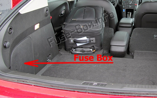 The location of the fuses in the trunk: Chevrolet Volt (2011-2015)