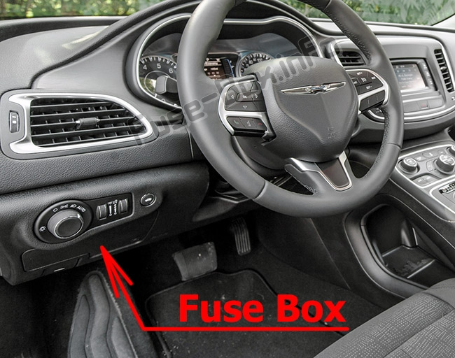 The location of the fuses in the passenger compartment: Chrysler 200 (Mk2; 2015-2017)
