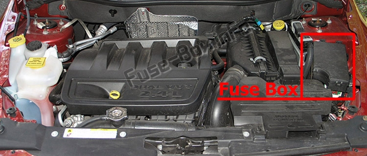 the location of the fuses in the engine compartment:dodge caliber (2006-2012