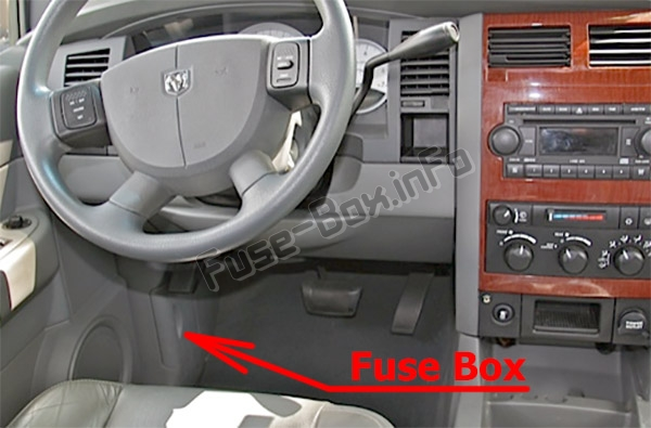 The location of the fuses in the passenger compartment: Dodge Durango (2006-2009)