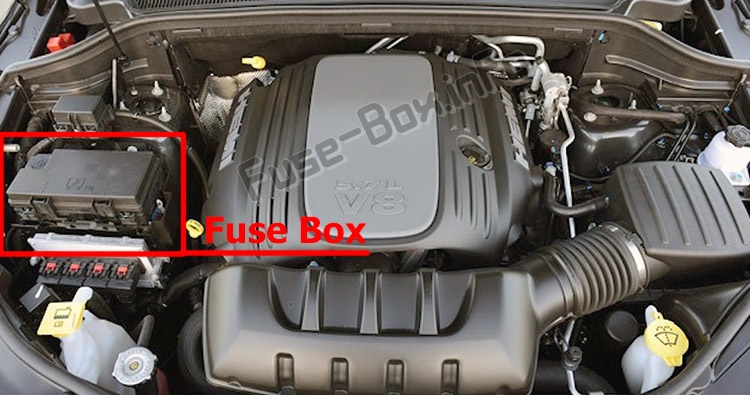 the location of the fuses in the engine compartment: dodge durango  (2011-2018