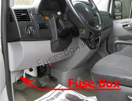 The location of the fuses in the passenger compartment: Dodge Sprinter (2007-2010)