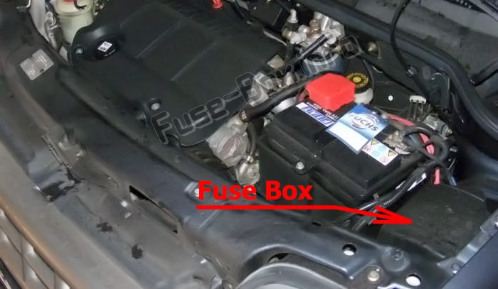 The location of the fuses in the engine compartment: Fiat Doblo (mk1; 2005-2009)