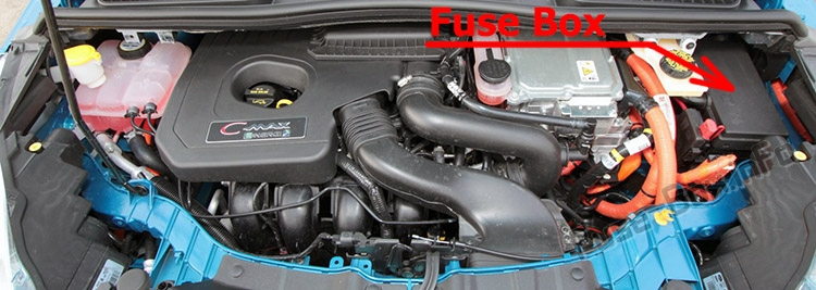 The location of the fuses in the engine compartment: Ford C-MAX Hybrid/Energi (2012-2018)